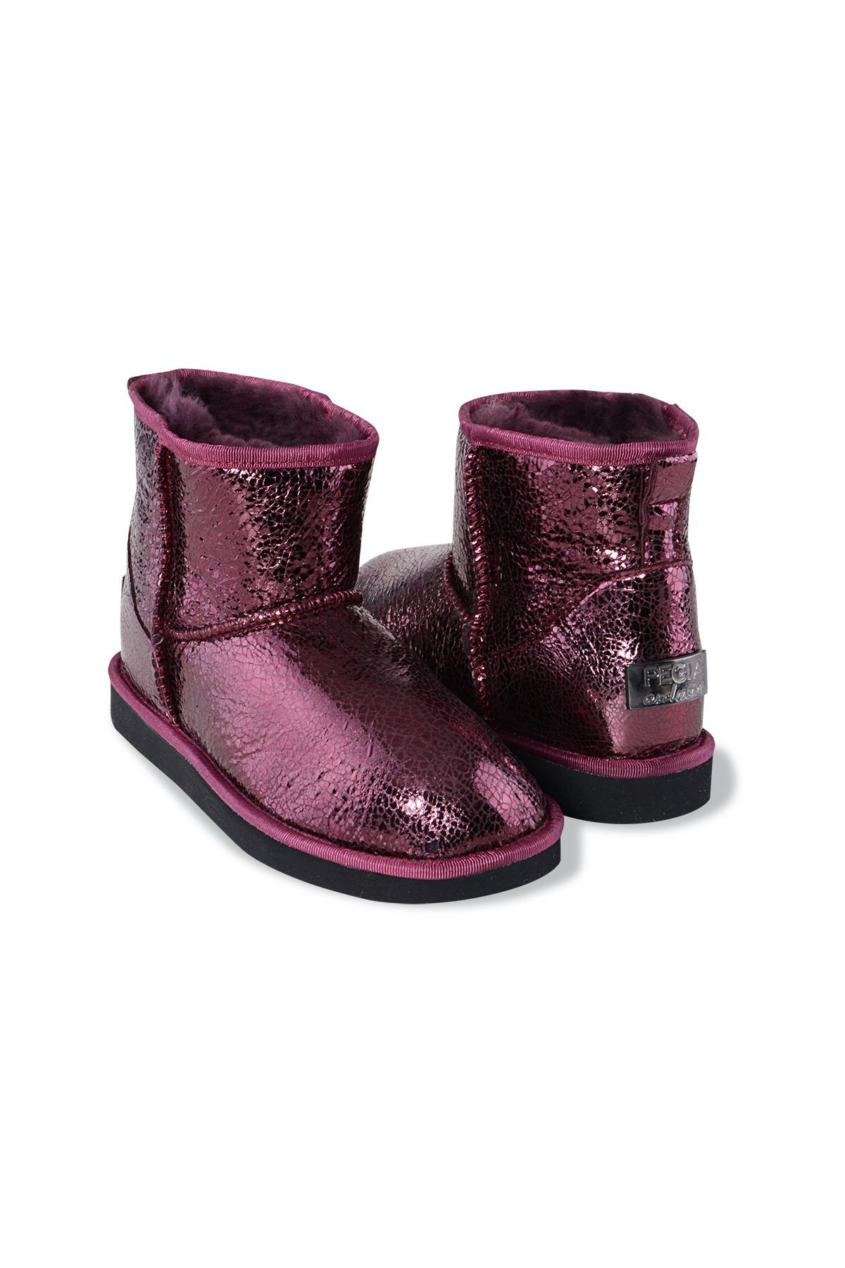 Pegia Shearling Women's Boots With A Pattern 191027 Claret red