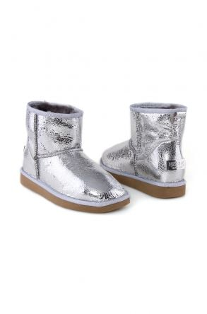 Pegia Shearling Women's Boots With A Pattern 191027 Silver