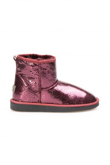 Pegia Genuine Shearling Glass Fracture Women's Ankle Boots 191027 Claret red