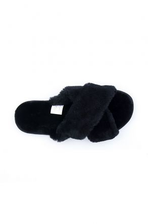 Pegia Women's Shearling Slippers 191096 Black