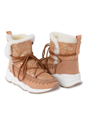 Pegia Laced Women Shearling Boots With Flower Pattern 195012 Ginger