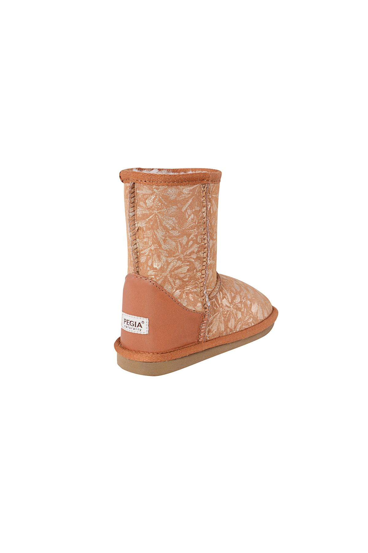 Pegia Classic Kids Boots From Sheepskin Fur With Flower Pattern Ginger