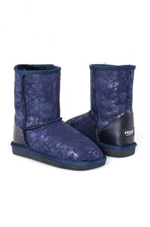 Pegia Classic Kids Boots From Sheepskin Fur With Flower Pattern Navy blue
