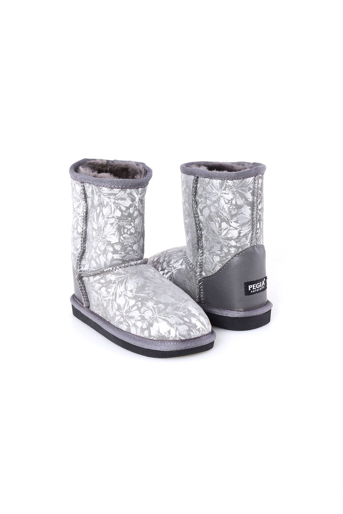Pegia Classic Kids Boots From Sheepskin Fur With Flower Pattern Gray
