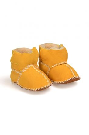 Pegia Shearling Baby's Bootie With A Velcro 141008 Yellow