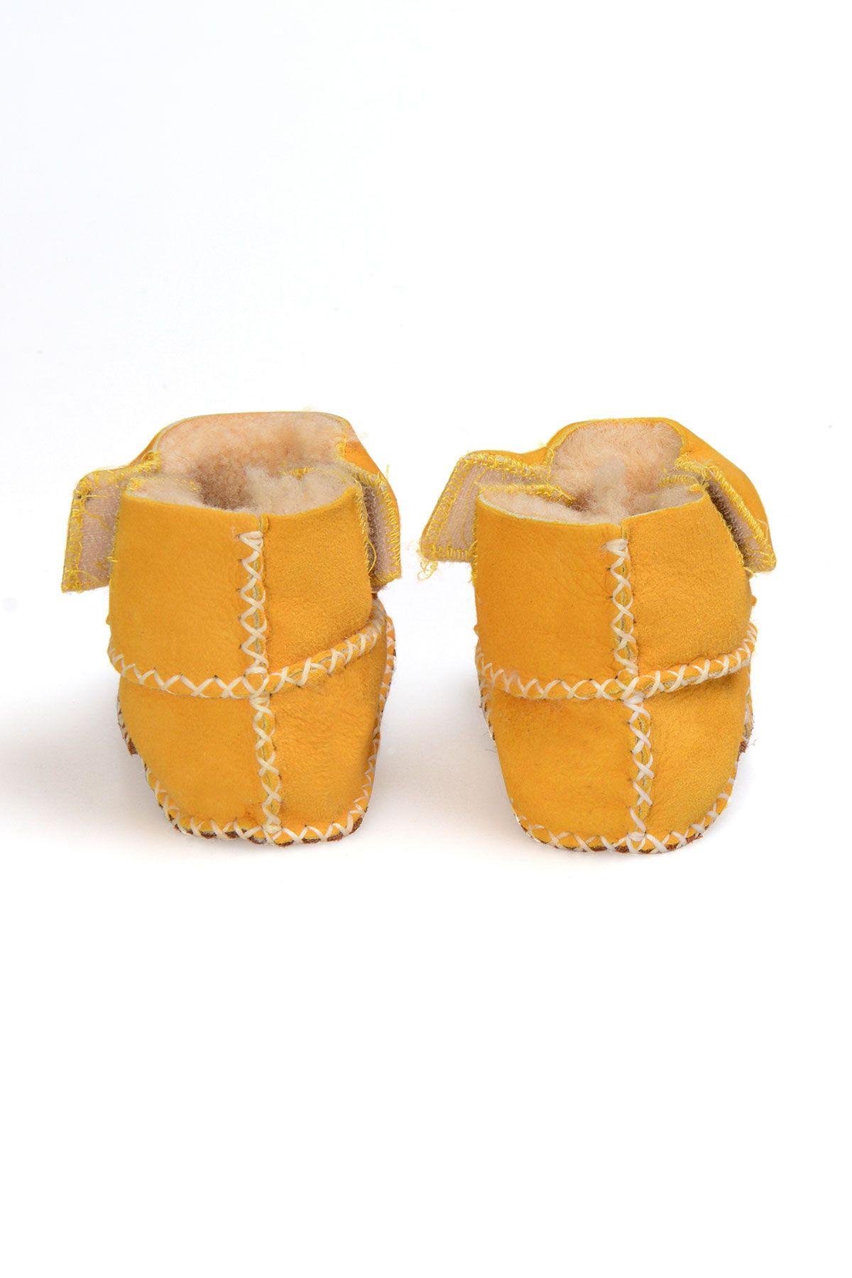 Pegia Hakiki Kürk Cırtlı Bebek Patiği 141008 Sarı