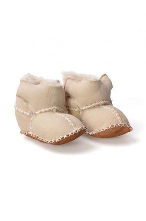 Pegia Hakiki Kürk Cırtlı Bebek Patiği 141008 Bej