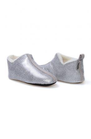 Pegia Hakiki Kürk Desenli Bayan Ev Ayakkabısı 980470 Gümüş