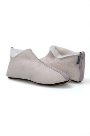 Pegia Hakiki Kürk Desenli Bayan Ev Ayakkabısı 980502 Gri