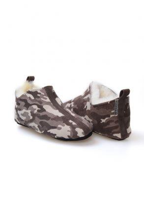 Pegia Hakiki Kürk Desenli Bayan Ev Ayakkabısı 980504 Kahve