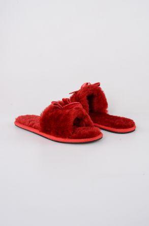 Pegia Женские Меховые Домашние Тапочки С Бантиком 191093 Красный