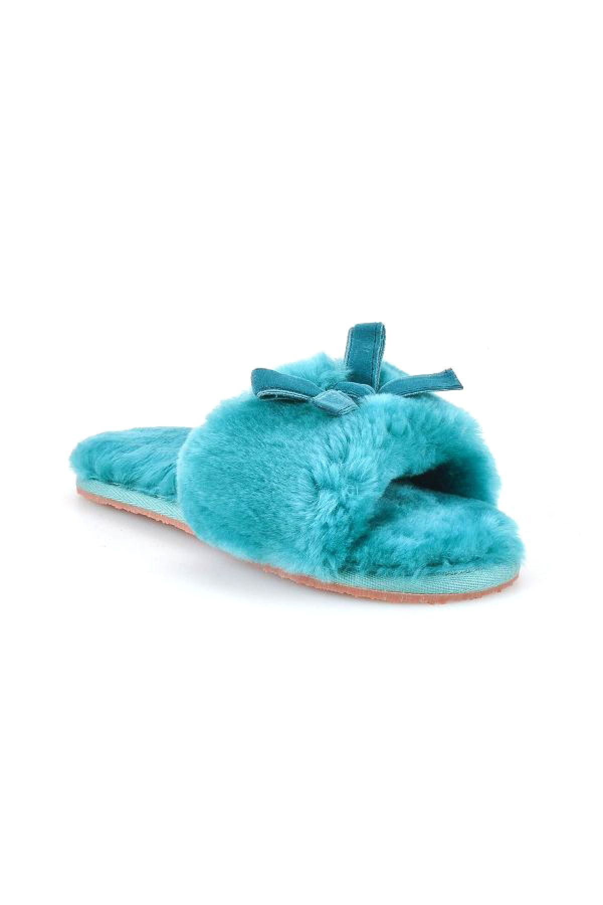 Pegia Women Shearling Slippers With Bow 191093 Blue
