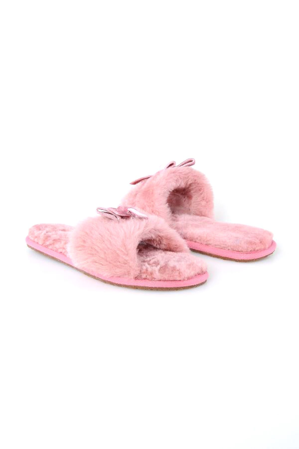 Pegia Women Shearling Slippers With Bow 191093 Powdery