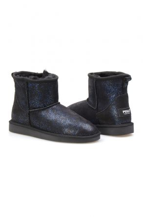 Pegia Genuine Sheepskin Galaxy Printed Women's Ankle Boots 191029 Navy blue