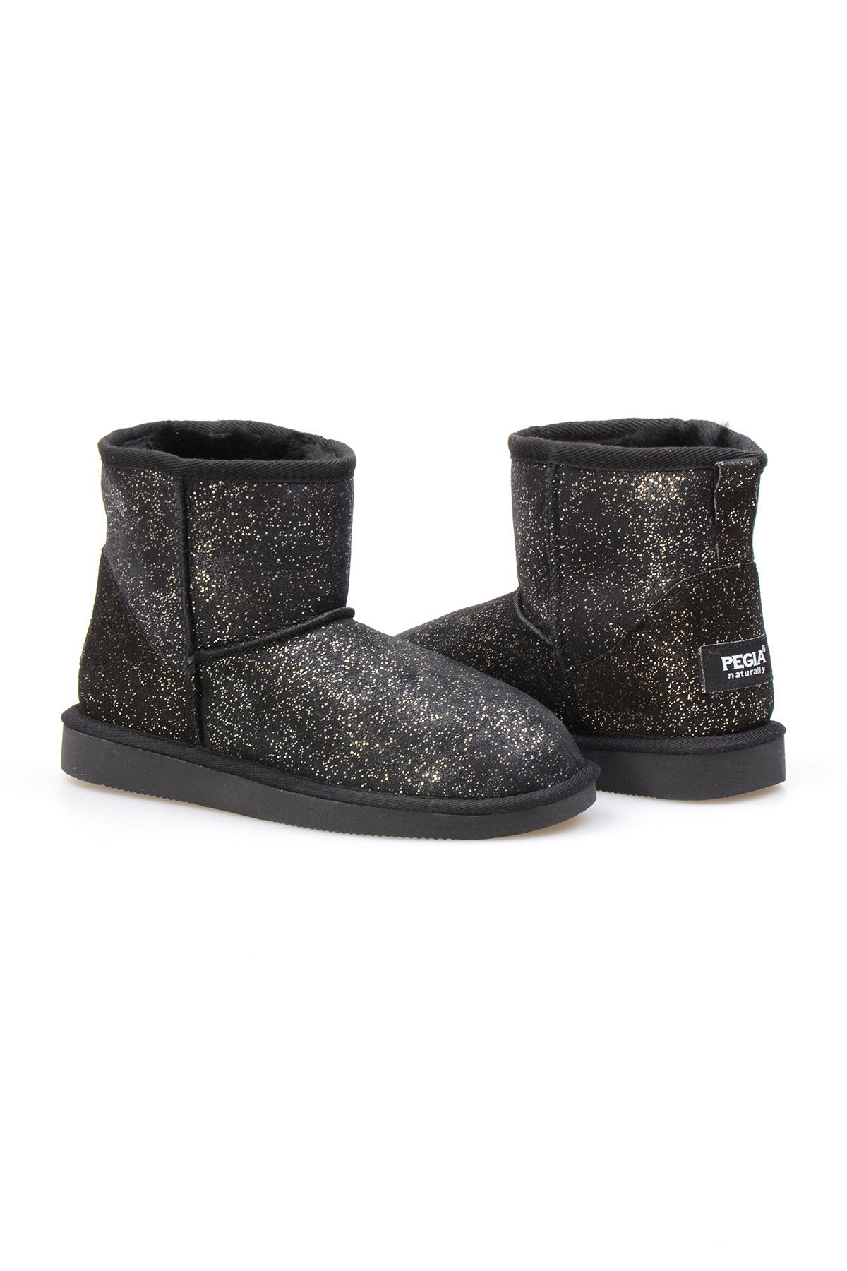 Pegia Genuine Sheepskin Galaxy Printed Women's Ankle Boots 191029 Golden