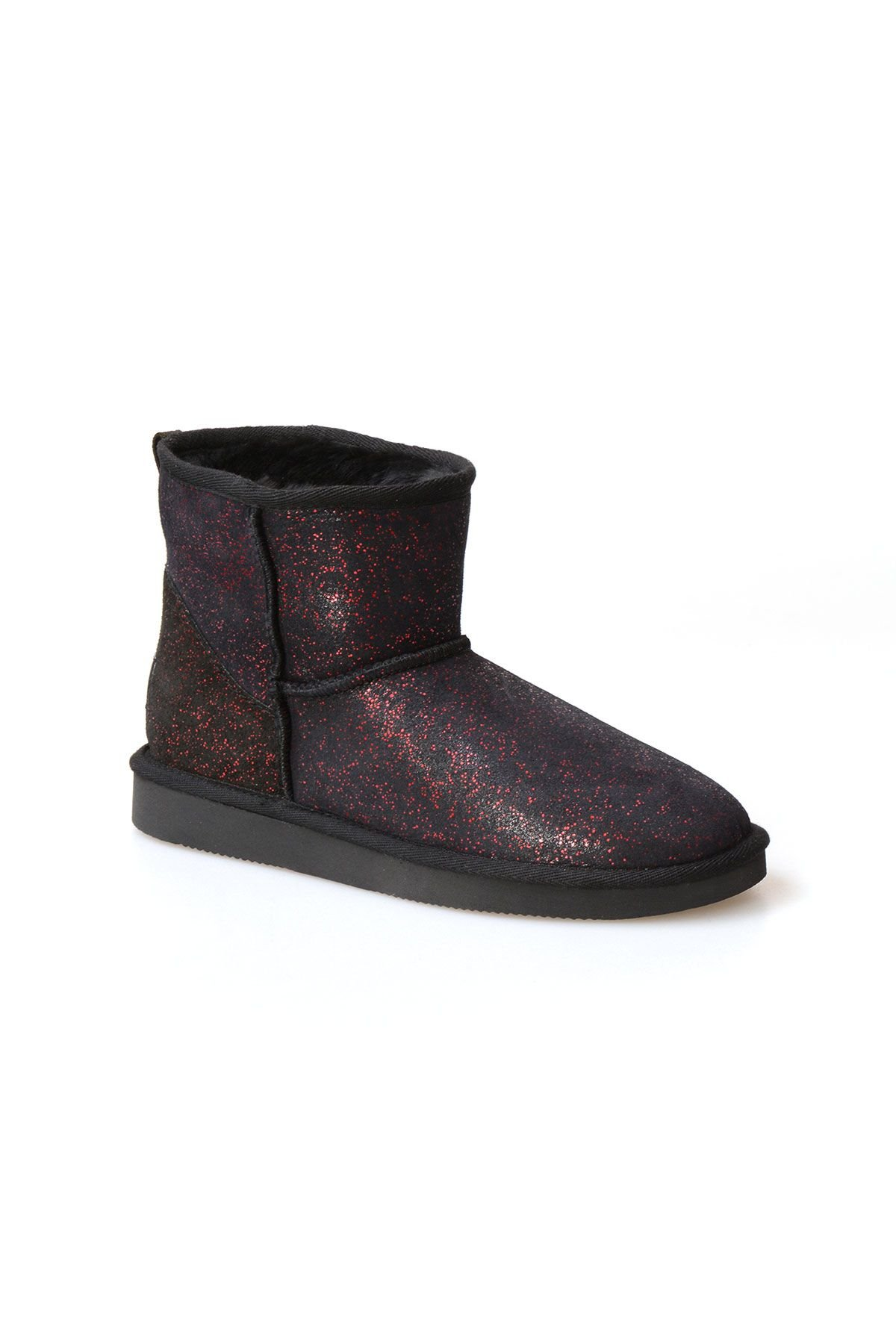 Pegia Genuine Sheepskin Galaxy Printed Women's Ankle Boots 191029 Red