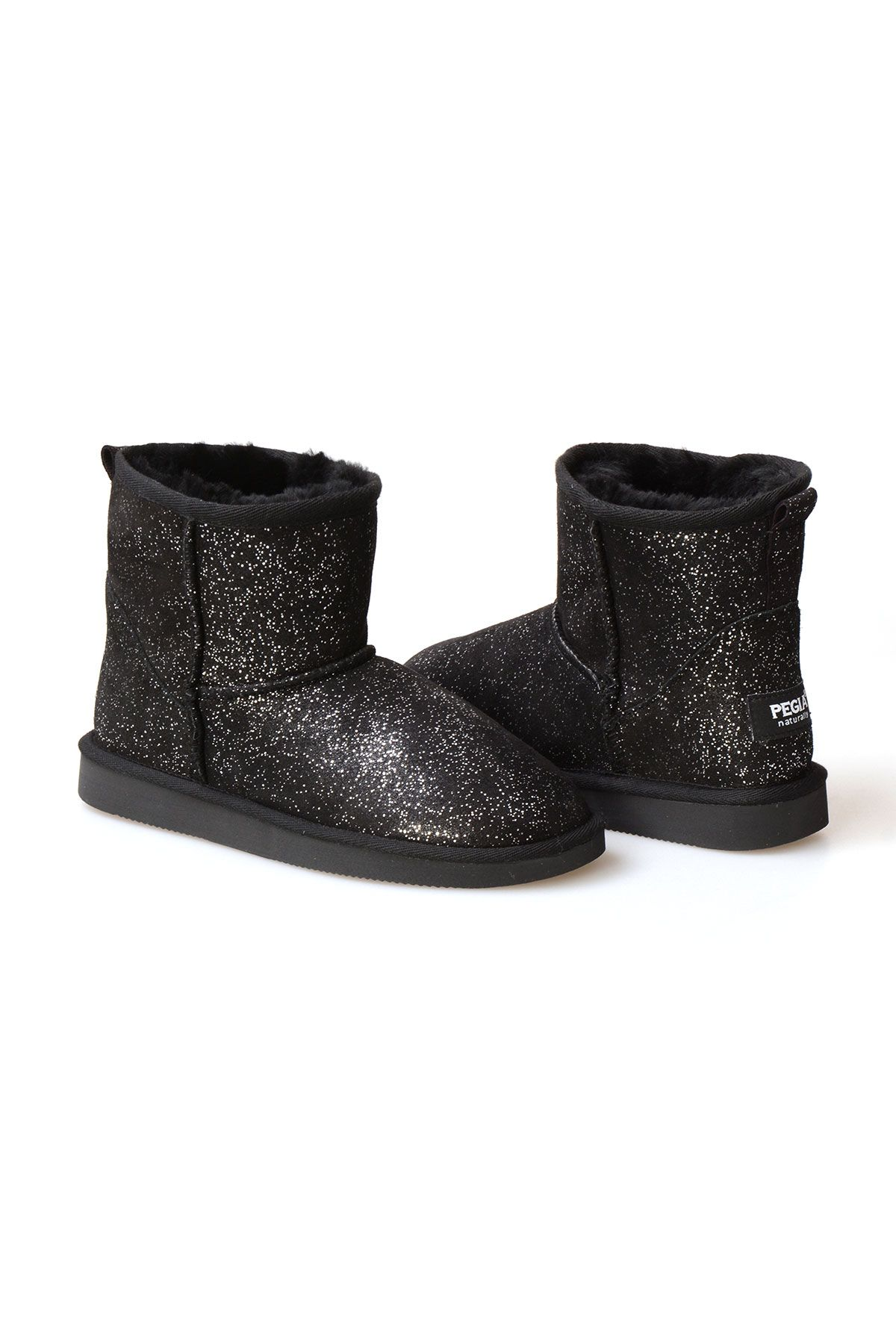 Pegia Genuine Sheepskin Galaxy Printed Women's Ankle Boots 191029 Black