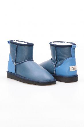 Pegia Hakiki Kürk Kadın Bot NM015 Mavi