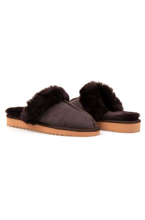 Pegia Genuine Sheepskin Women's House Slippers 212001 Brown