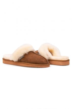 Pegia Genuine Sheepskin Women's House Slippers 212001 Sand-colored