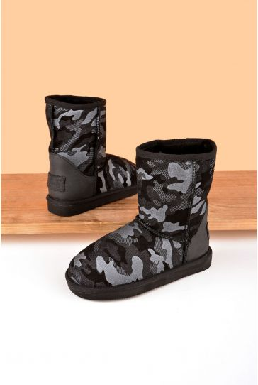Pegia Classic Kids Boots From Sheepskin Fur With Camouflage Pattern Black