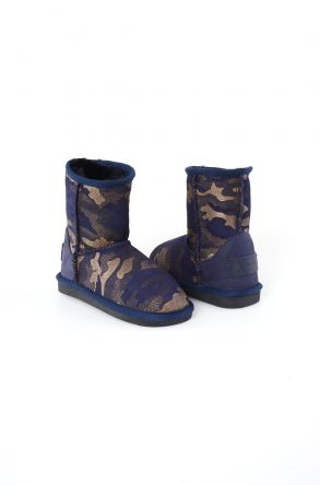 Pegia Classic Kids Boots From Sheepskin Fur With Camouflage Pattern Navy blue
