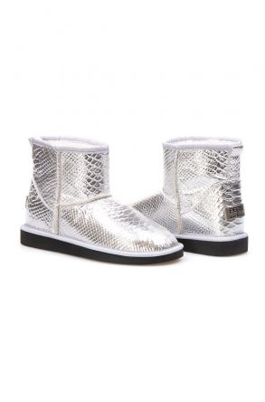 Pegia Genuine Sheepskin Croco Printed Women's Ankle Boots 191050 Silver