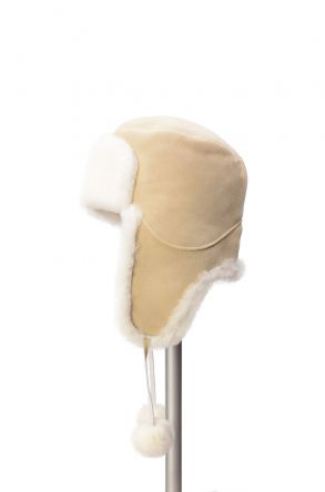 Pegia Genuine Sheepskin Hat 19SB02 Beige