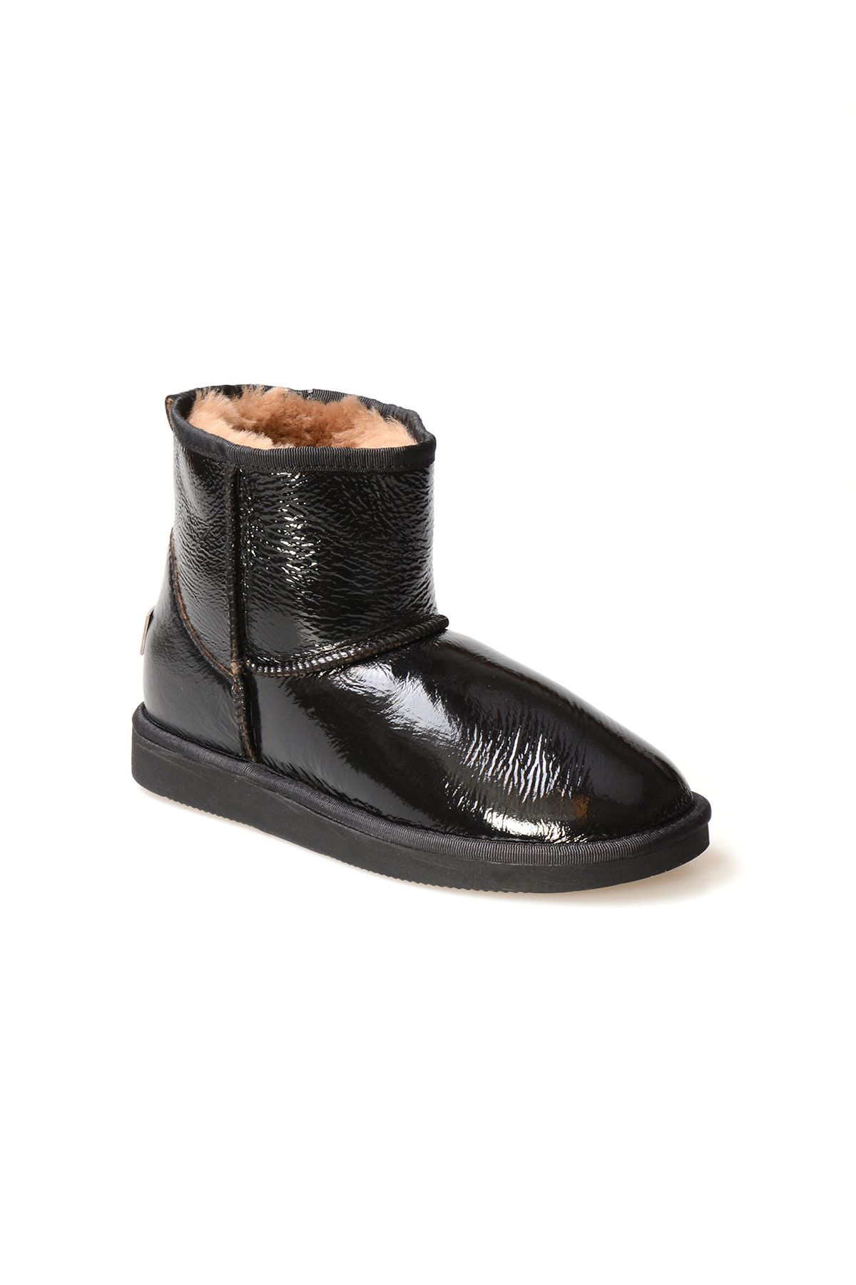 Pegia Genuine Rugan Sheepskin Lined Women's Ankle Boots 191049 Black