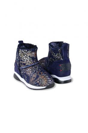 Pegia Детские Спортивные Ботинки Из Натуральной Овчины С Шалью 185003 Темно-синий