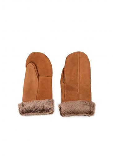 Pegia Genuine Shearling Unisex Gloves EL-017 Brown
