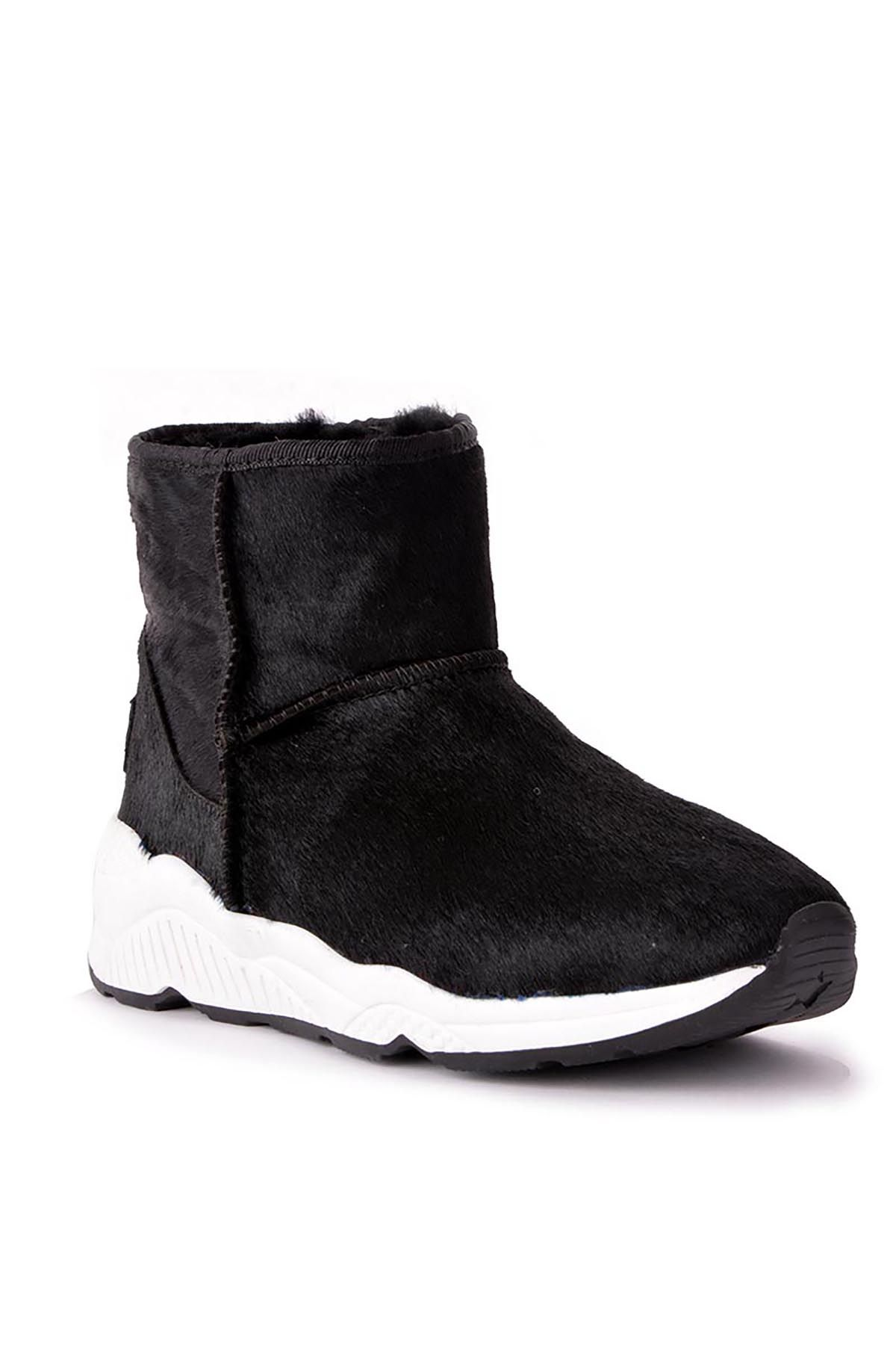 Pegia Women Boots From Genuine Suede And Fur With Side Zip 157804 Black