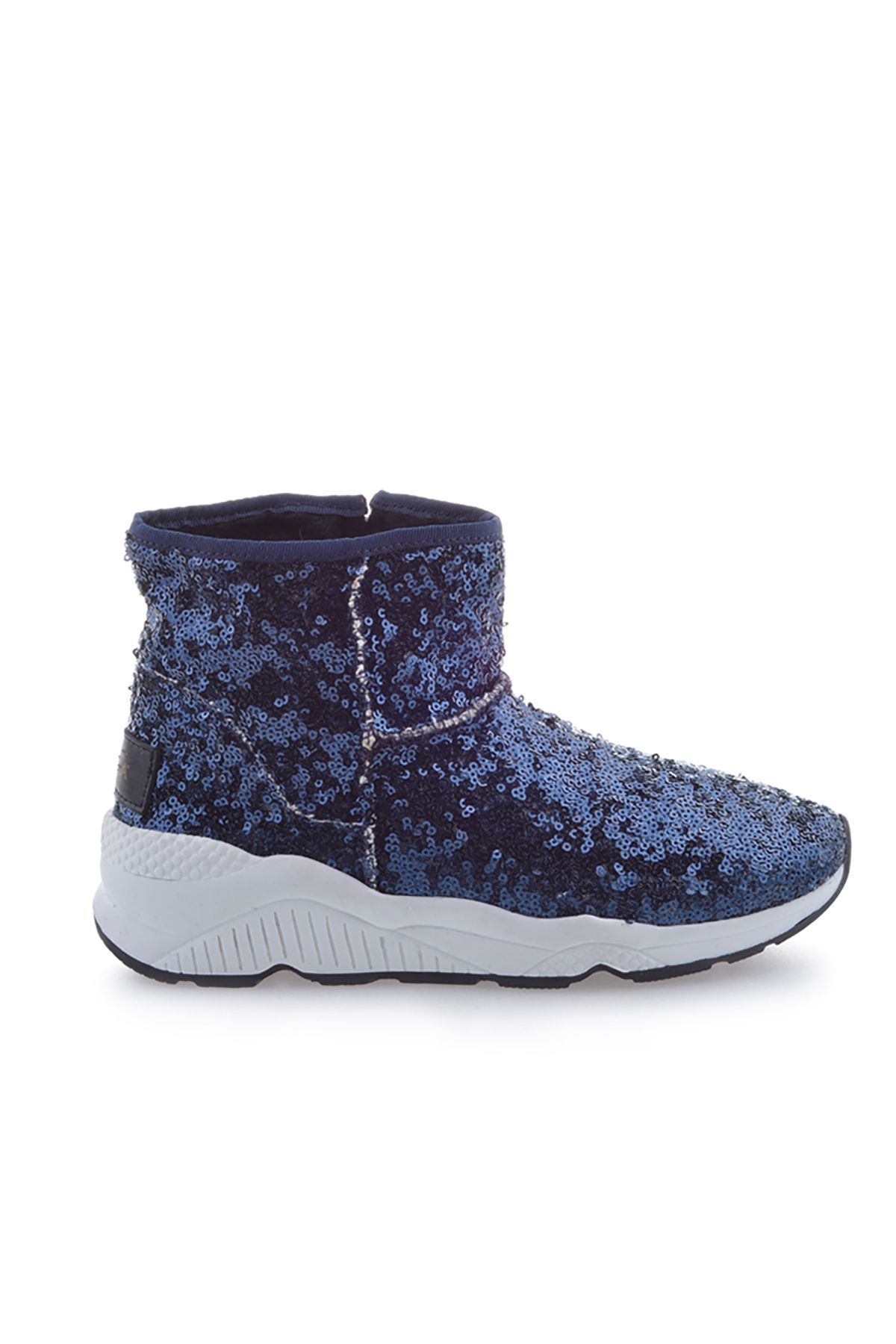 Pegia Women Boots From Genuine Suede And Fur With Side Zip 157805 Navy blue