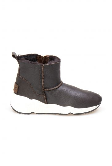 Pegia Genuine Shearling Women's Zippered Ankle Boots 191057 Dark Brown