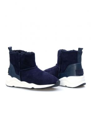 Pegia Sheepskin Women Boots 191059 Navy blue