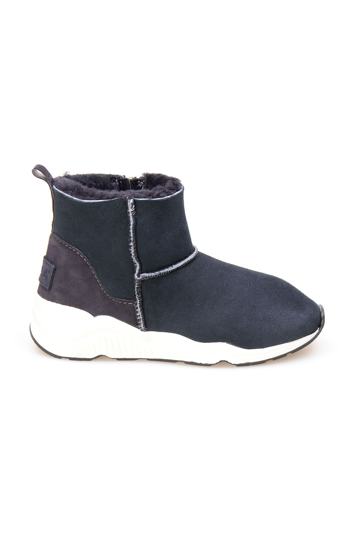 Pegia Genuine Shearling Zippered Women's Ankle Boots 191067 Anthracite-colored