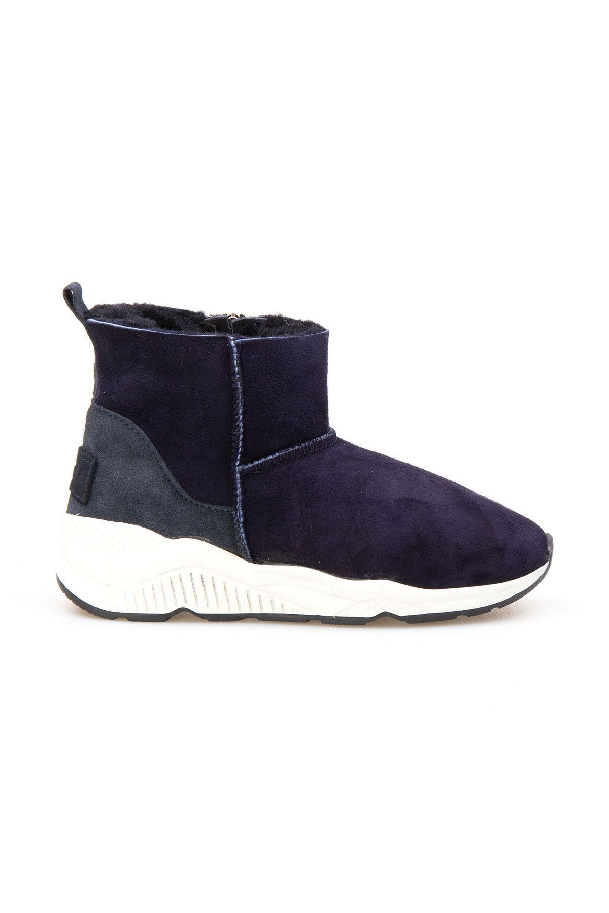 Pegia Genuine Shearling Zippered Women's Ankle Boots 191068 Navy blue
