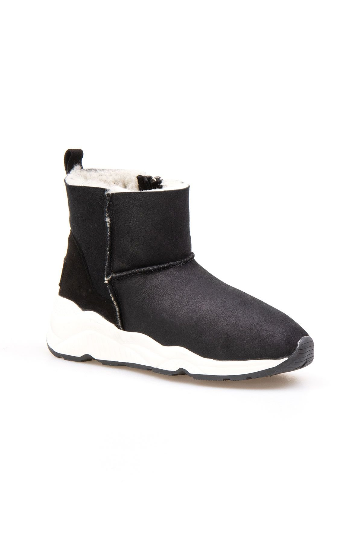 Pegia Genuine Shearling Zippered Women's Ankle Boots 191069 Black