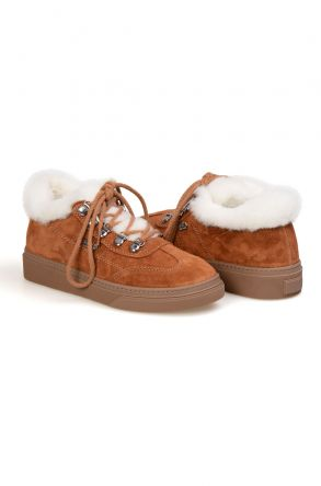 Pegia Genuine Sheepskin Laced Boots T-391010 Ginger