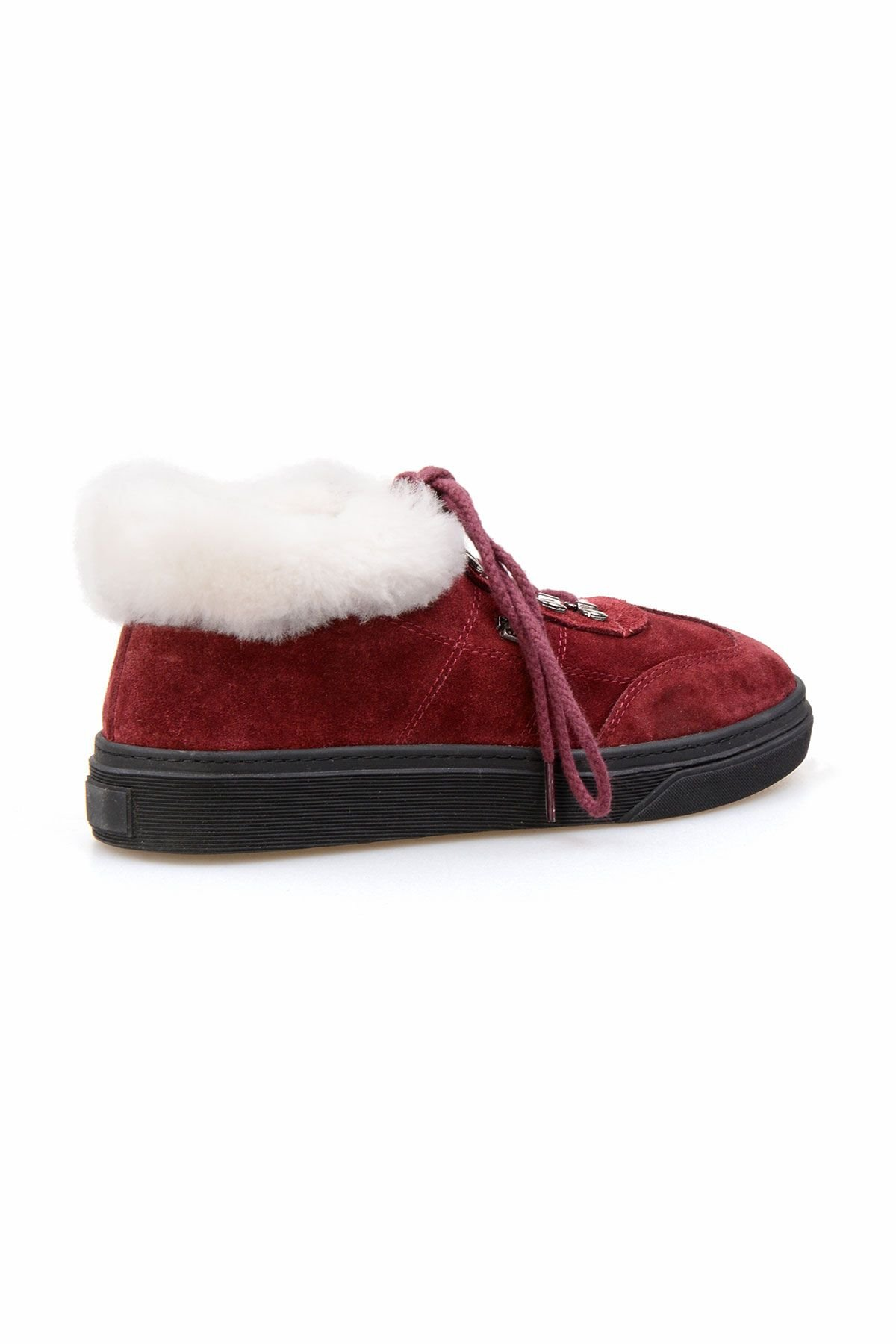 Pegia Genuine Sheepskin Laced Boots T-391010 Claret red