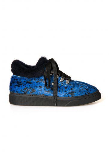 Pegia Genuine Sheepskin Laced Boots T-391010 Blue
