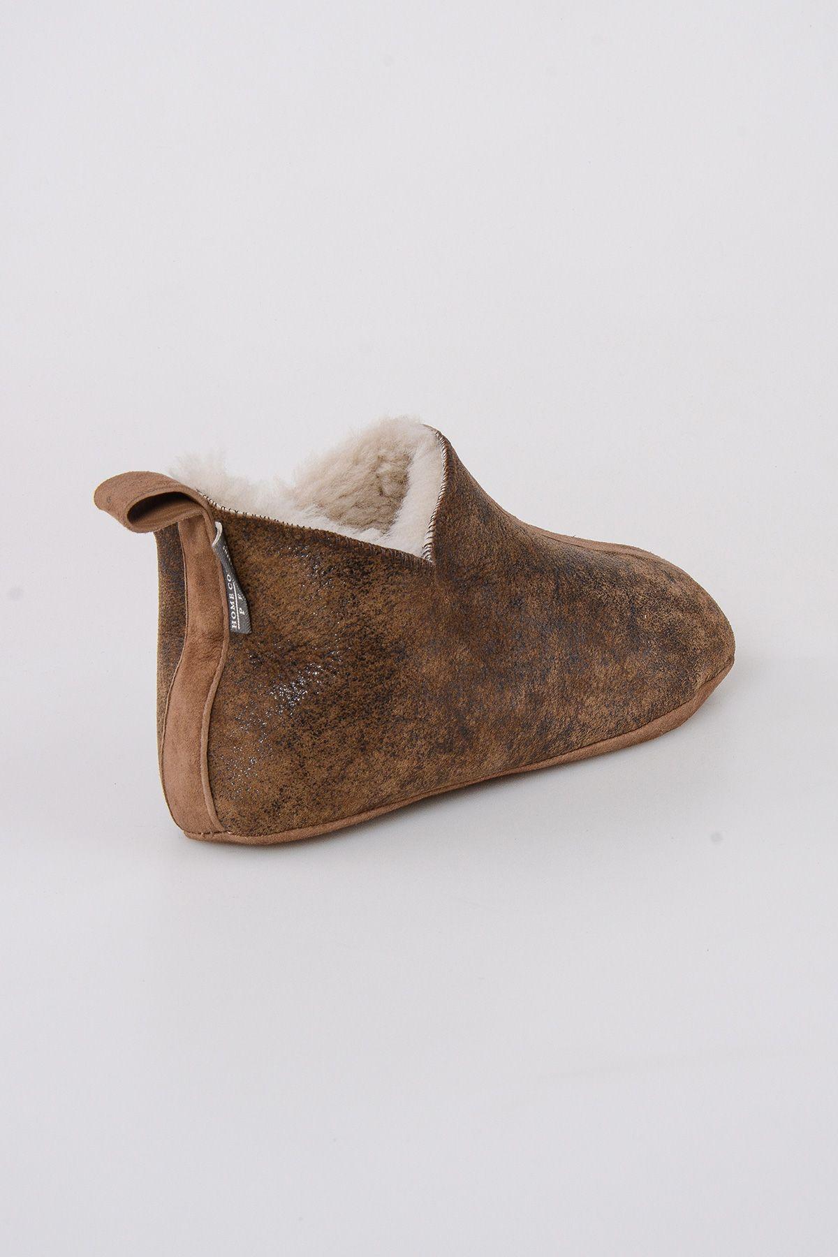 Pegia Hakiki Kürklü  Erkek Ev Ayakkabısı 111008 Kahve