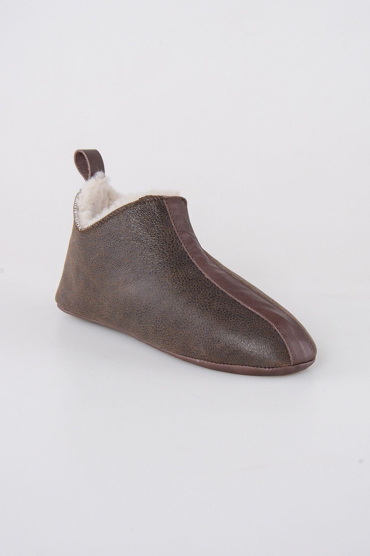 Pegia Hakiki Kürklü  Erkek Ev Ayakkabısı 111008 Koyu Kahve
