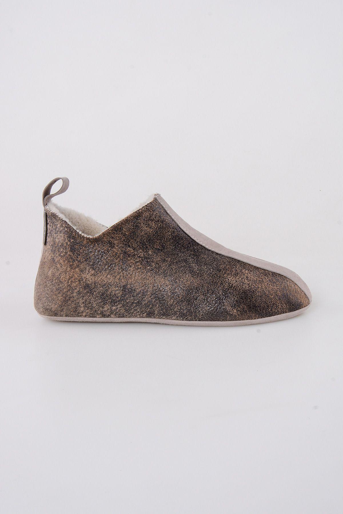 Pegia Hakiki Kürklü  Erkek Ev Ayakkabısı 111008 Vizon