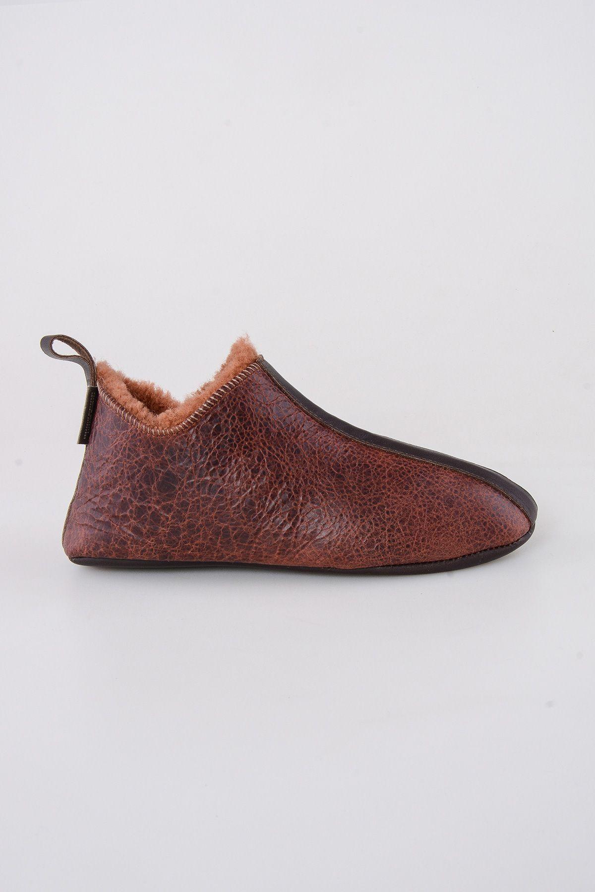 Pegia Hakiki Kürklü  Erkek Ev Ayakkabısı 111008 Taba
