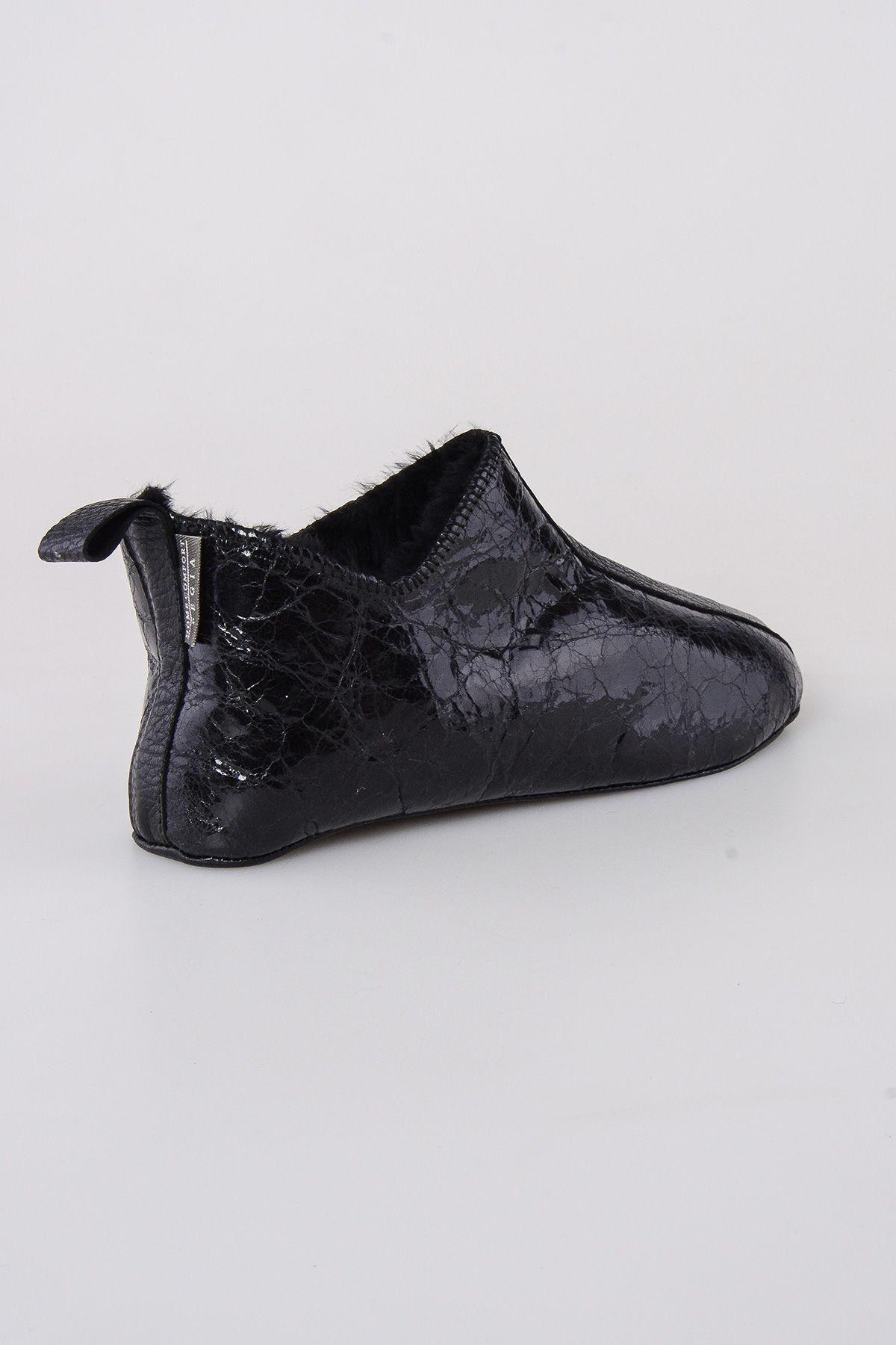 Pegia Hakiki Kürklü  Erkek Ev Ayakkabısı 111008 Siyah