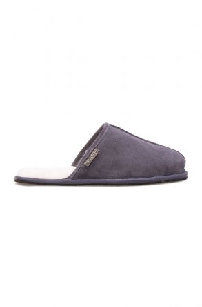 Pegia Men House Slippers From Genuine Fur Dark Gray