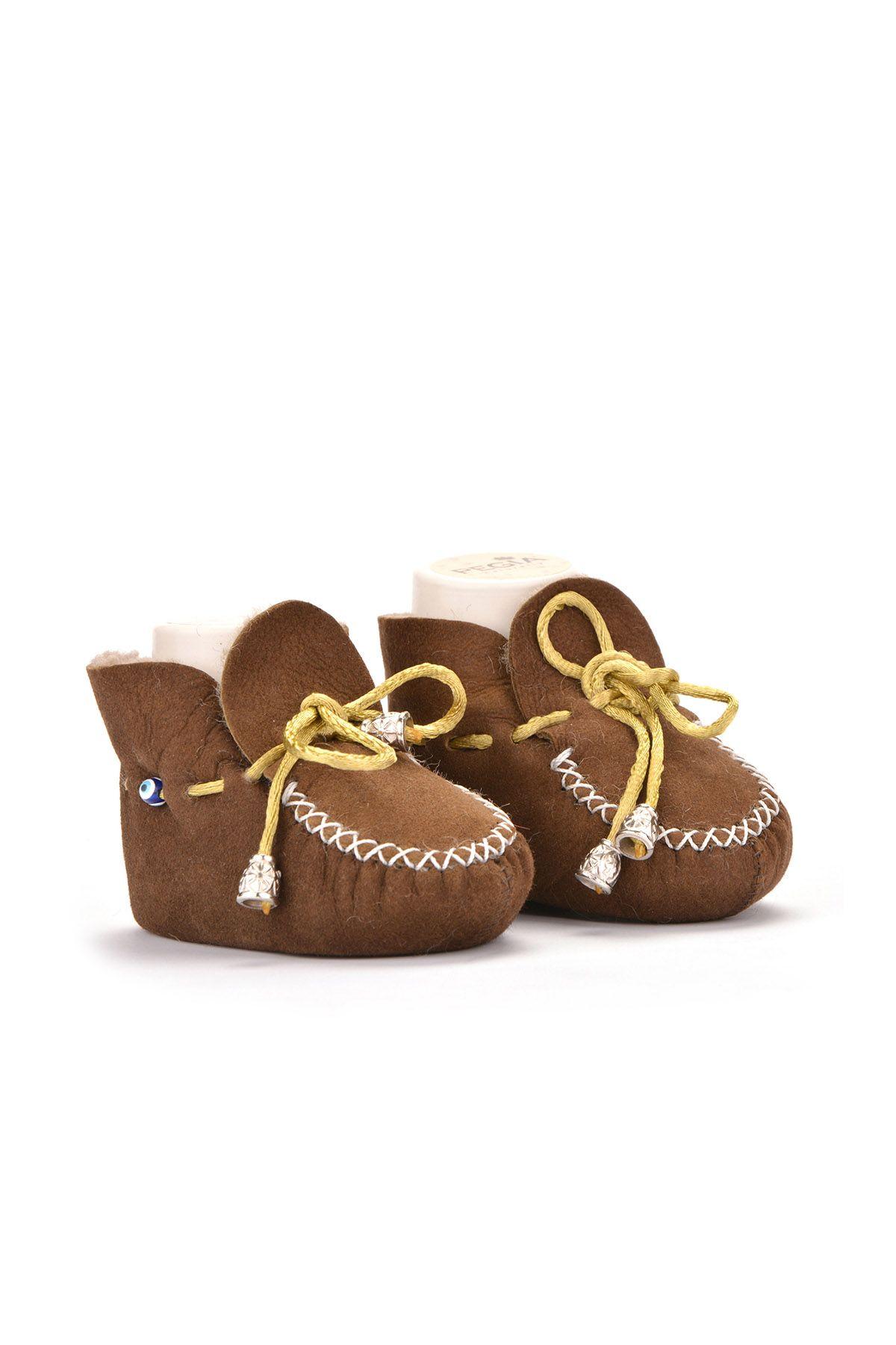 Pegia Hakiki Kürklü Bağcıklı Bebek Patiği 141003 Açık Kahve