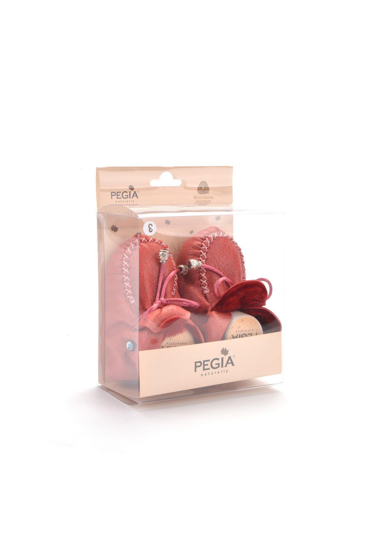 Pegia Hakiki Kürklü Bağcıklı Bebek Patiği 141003 Bordo