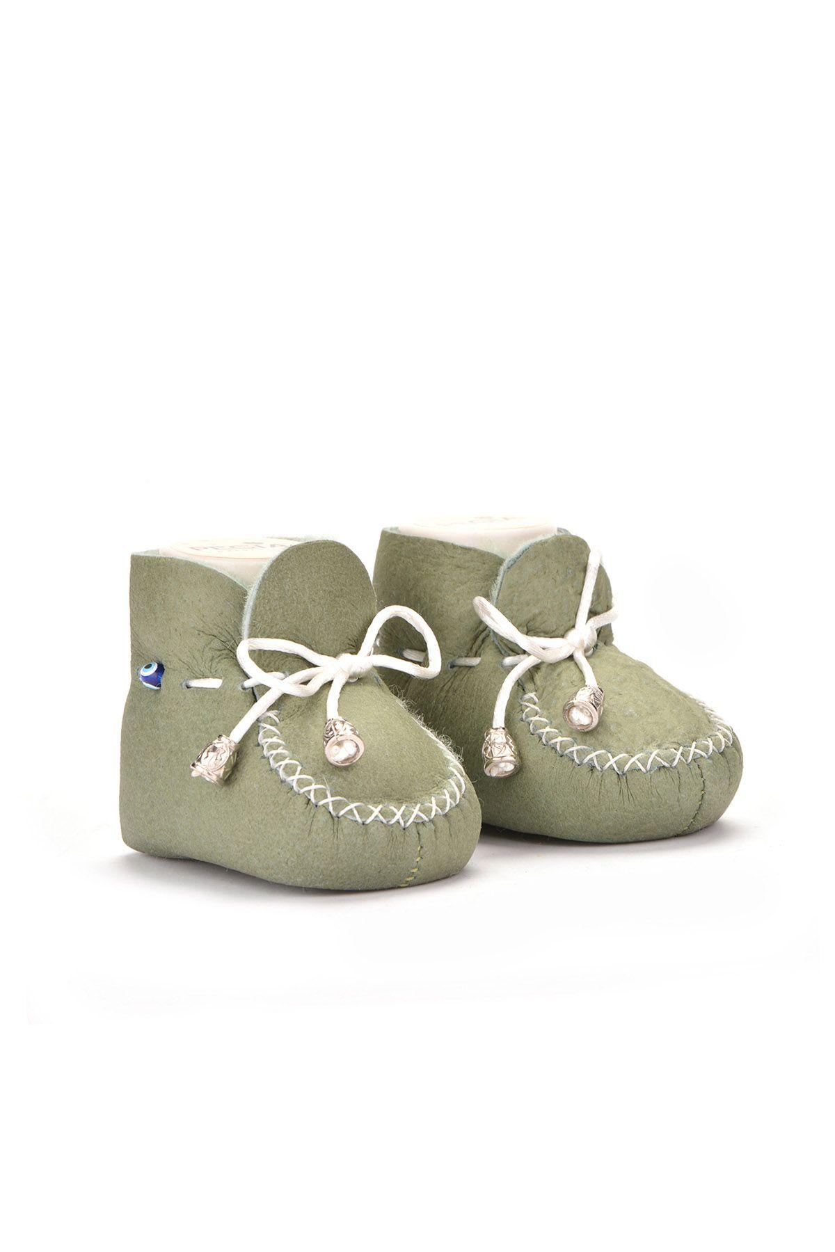 Pegia Hakiki Kürklü Bağcıklı Bebek Patiği 141003 Açık Yeşil